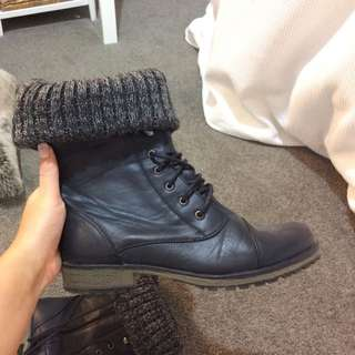 Black And Wool Boots
