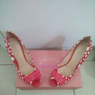 Olga Strada Red Polkadot Shoes Size 37