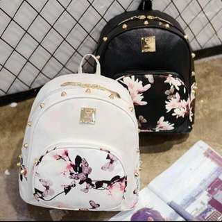 READY STOCK KOREA BACKPACK FASHION CASUAL FLORA  LEATHER BAG