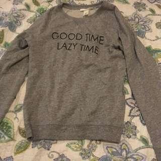 Grey, black print sweater