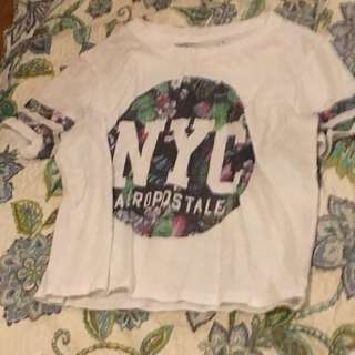 White, purple and green NYC crop top