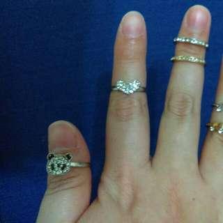 水鑽 熊貓 愛心 音符 排鑽 戒指 多款可挑 #內有更多飾品特價#