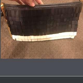 Herve Leger Resin Black/White Fringe Clutch RRP AUD$488