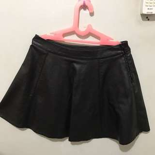 Synthethic Leather Mini Skirt