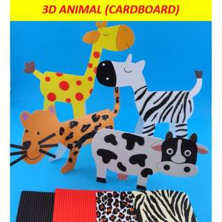 3D animals (cardboard) / giraffe / zebra / leopard / cow / birthday goodie bag / party pack / DIY art and craft activity for kids