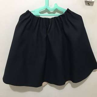 Ruffled Navy Dark Zara Basic Skirt