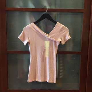 Kanolia Baby Pink Asymetric Blouse