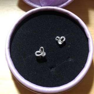 正生銀飾-愛心單鑽耳環