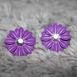 Purple Flower Stud Earing