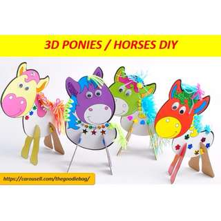 Happy pony / horse - 3D cardboard DIY / Kids art and craft / birthday goodie bag / party pack