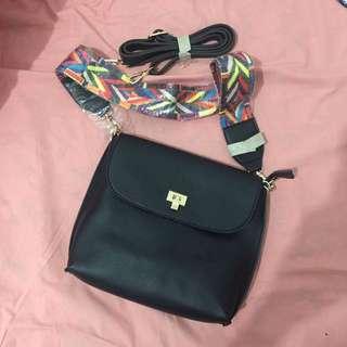 Black Bag With Printed Sling