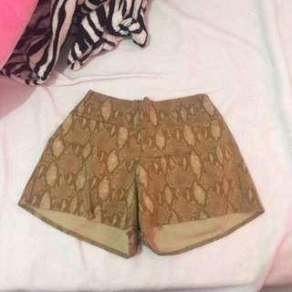 Snake Skin Cotton Shorts