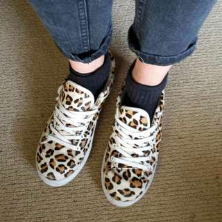 5d1a69ab BARDOT Faux Leopard Fur Sneakers Trainers Shoes Sz 37 (AU 6/7)