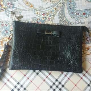 PREMIUM BLACK LEATHER CLUTCH ( Sling Bag )