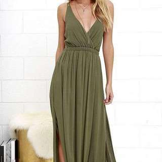 vneck slitted maxi dress