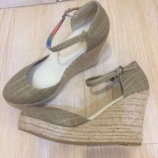麻編坡跟楔型涼鞋包頭高跟鞋
