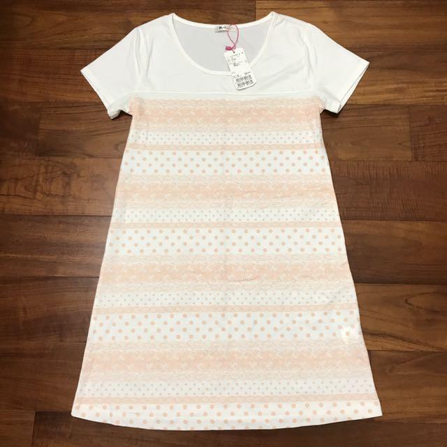 [全新原價$1580]H2O日系專櫃柔軟絲棉手感浪漫蕾絲印花短袖洋裝