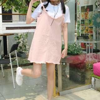 韓版短袖T+牛仔吊帶連衣裙