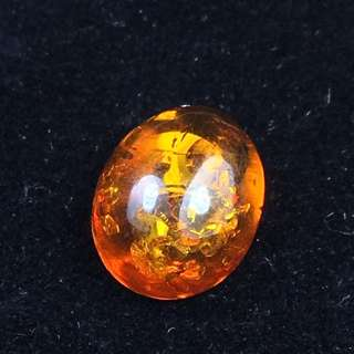 Genuine Natural Amber Cabochon - 1.15 Carats 0.8 By 1 By 0.4cm