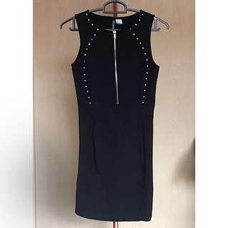 H&M black studded bodycon dress