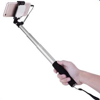 Portable Selfie Stick Monopod Cable with Mirror and Button Shutter