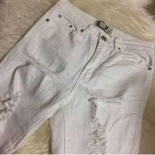Boohoo Petite Distressed Denim Jeans