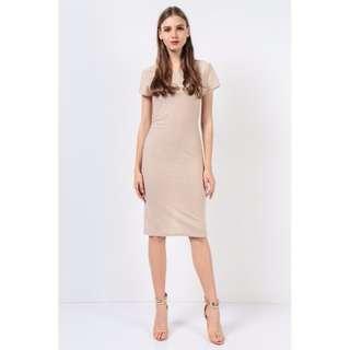Dressabelle Metallic Ribbed Midi Sleeved Dress (Cream)