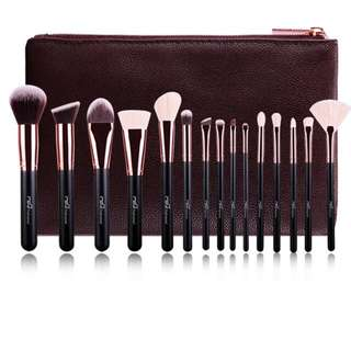 15Pcs Makeup Brushes Set&Kit Gold Cosmetics Case Bag