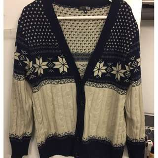 Blue/Cream Winter Cardigan size M