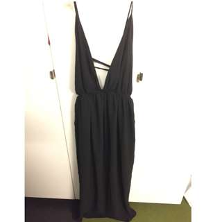 Black Deep V Maxi Prom Dress