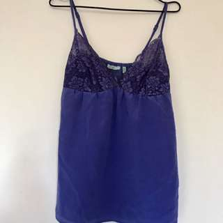 WISH CAMI BLOUSE TOP IN PURPLE BLUE LACE - SIZE 10