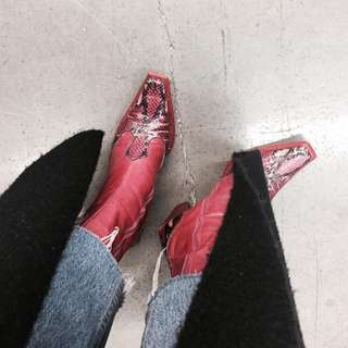 Real Leather Western Snakeskin Boots In Size Au 8