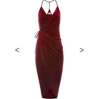 Red Velvet Sheike Dress Size 8
