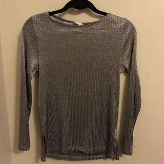 H&M Metallic Gray Top