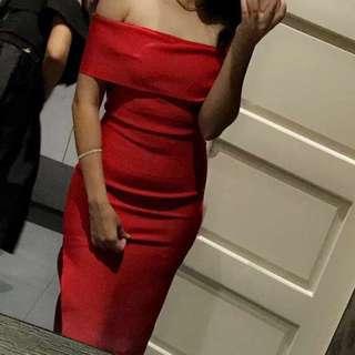Red Off The Shoulder Dress Size 8