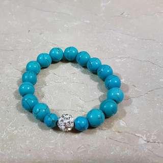 Opaque Blue Beads Bracelet