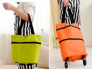 Tas lipat dengan roda Tas koper lipat Foldable bag eco style - FTS027