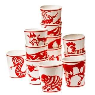 12生肖剪紙藝術陶瓷杯