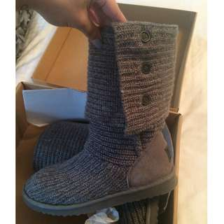 Authentic Grey Ugg Knit Boots (Size 9)