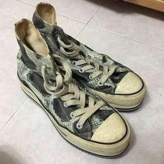 Puzzle厚底高筒帆布鞋 Size37