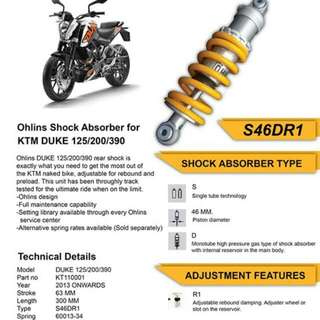 Ohlins Shock Absorber For KTM DUKE 125/200/390