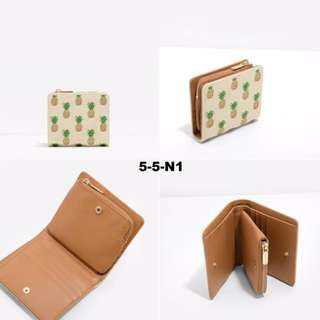Charles & Keith Beige Pineapple Square Wallet