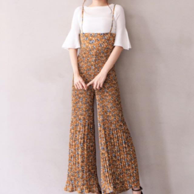 韓國吊帶雪紡小花寬褲