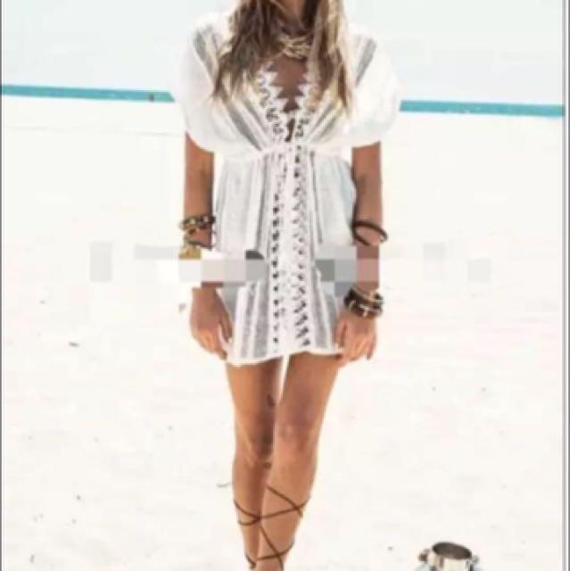 🆕全新 歐美白色薄款繫帶長版寬鬆上衣/罩衫