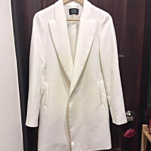 正韓 白色長版西裝外套