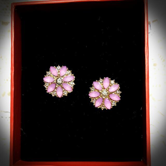 贈送🎁全新✨粉紫色花朵夾式耳環🌸飾品 配件 小物💖 #轉轉來交換