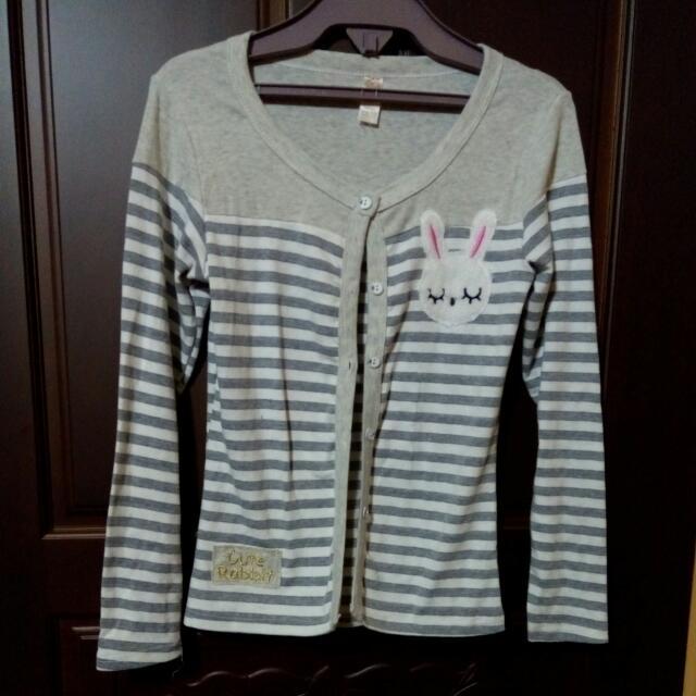 防曬 遮陽 條紋 罩衫