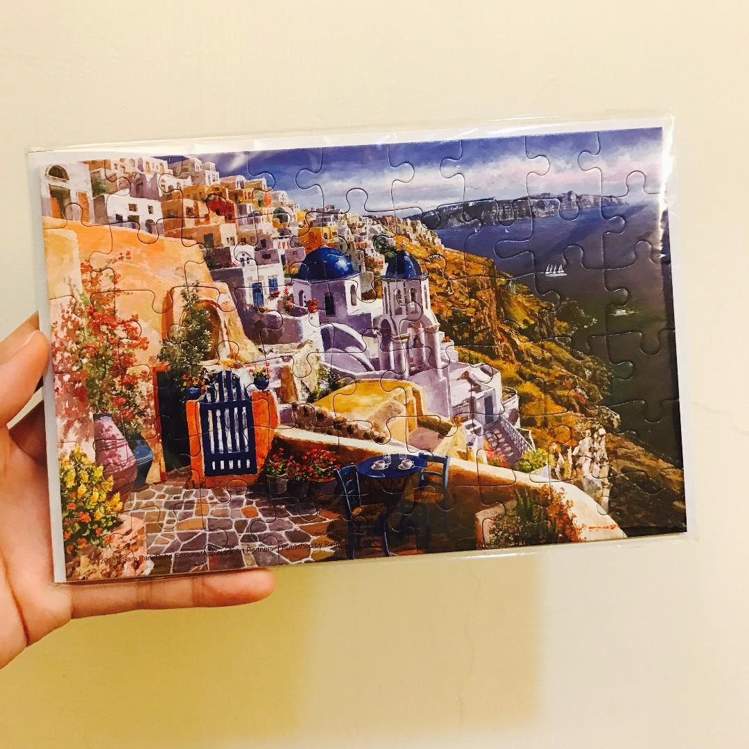 雷諾瓦。拼圖卡片。希臘風情  View of Santorini。54PCS。尺寸:18.6*12.3 cm