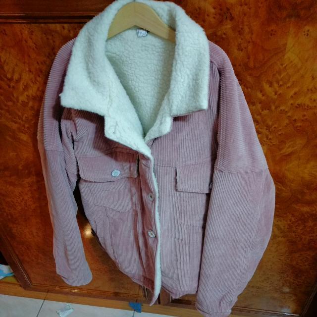 AIR space粉紅刷毛牛仔外套
