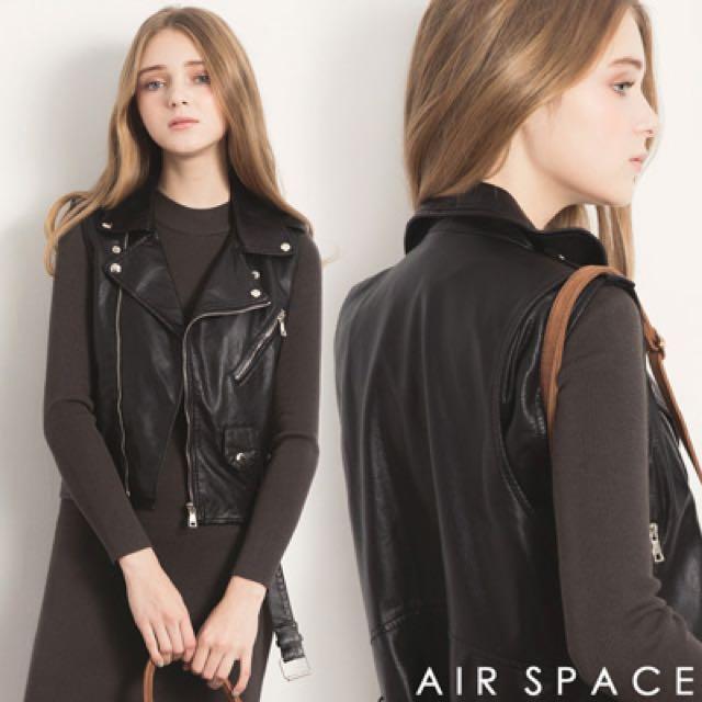 AIR SPACE 拉鍊短版皮背心騎士外套 全新正品
